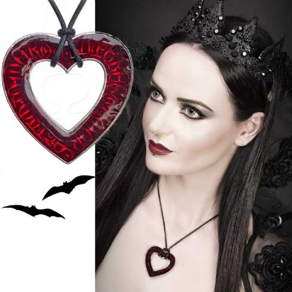 ALCHEMY GOTHIC Love Over Death Heart Necklace